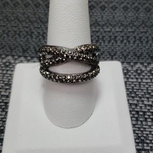 3/$9 New Ring Gunmetal encrusted with grey stones